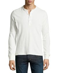 Ag Adriano Goldschmied Long-sleeve Woven Placket Henley - Lyst