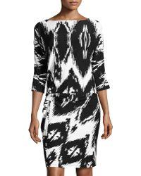 BCBGMAXAZRIA Dolmansleeve Zigzagprint Twistknot Dress - Lyst