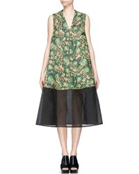 Delpozo Tropical Leaf Jacquard V-Neck Dress green - Lyst
