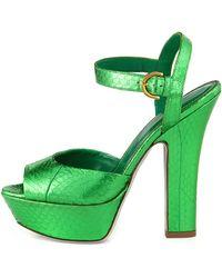 Sergio Rossi Snakeskin Leather Platform Sandal - Lyst