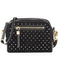 B Brian Atwood Barbara Star Perforated Suede Crossbody Bag - Lyst