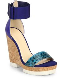 Jimmy Choo Neston Mixed Media Cork Platform Wedge Sandals - Lyst