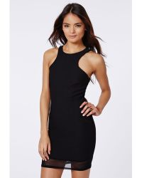 Missguided Masa Mesh  Crepe Bodycon Racer Back Dress Black - Lyst