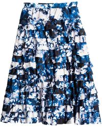 Cynthia Rowley Layered Silk Long Skirt - Lyst