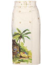Stella Jean Coyote Printed Cotton Skirt beige - Lyst