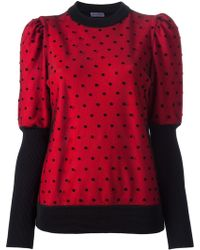 Emanuel Ungaro Puffy Sleeve Dotted Sweater - Lyst