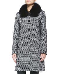 Sofia Cashmere Fox Fur-Collar Geometric Club Coat black - Lyst