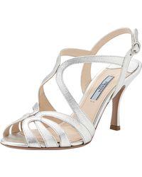 Prada Metallic Saffiano Strappy Sandal - Lyst