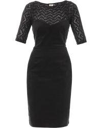 L'Agence Velvet And Knitted Panel Dress - Lyst
