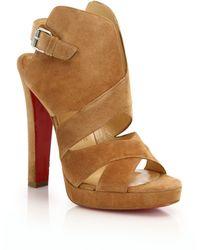 Christian Louboutin | Apron Lili Suede Crisscross Sandals | Lyst