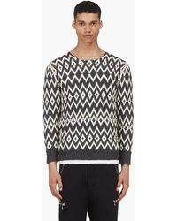 Marc Jacobs Grey and Ivory Diamond Knit Sweater - Lyst