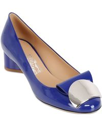 Ferragamo 40mm Posi Patent Leather Plaque Pumps - Lyst