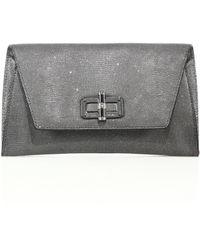 Diane von Furstenberg | 440 Gallery Uptown Metallic Lizard-embossed Leather Envelope Clutch | Lyst