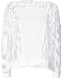 Helmut Lang Grid Sweater with Lace Pattern - Lyst