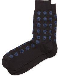 Alexander McQueen Skull Knit Short Socks - Lyst