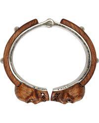 Alexander McQueen Brown Wood Skull Bracelet - Lyst