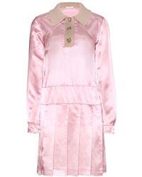 Miu Miu Satin and Wool Dress - Lyst