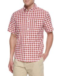Lacoste Short-Sleeve Gingham Check Shirt - Lyst