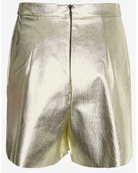 MSGM Gold Lame Shorts - Lyst