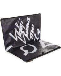 Yohji Yamamoto - Leather And Canvas-Backed Paper Pouch - Lyst