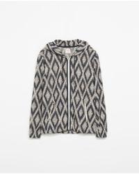 Zara Jacquard Texture Sweatshirt - Lyst