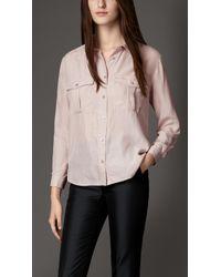 Burberry Crinkle Silk Military Shirt - Lyst