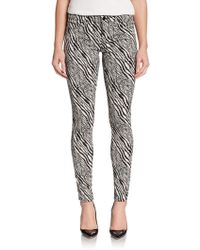 J Brand Super-Skinny Printed Mid-Rise Pants - Lyst