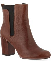 Nine West Saga Leather Ankle Boots Brown - Lyst