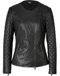 DKNY Leather Biker Jacket - Lyst