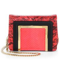 Jimmy Choo Ava Glossy Snakeskin Mini Shoulder Bag - Lyst