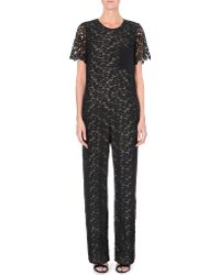 Erdem Lace and Silkpanel Jumpsuit Black - Lyst