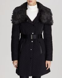 Karen Millen Coat - Quilted Faux Fur Collar - Lyst