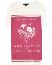 Burberry Prorsum Botanical-Print Cotton T-Shirt red - Lyst