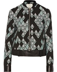 3.1 Phillip Lim Leather-Trimmed Jacquard Jacket - Lyst