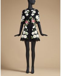 Dolce & Gabbana | Trapeze Dress In Embroidered Lace | Lyst