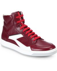 Prada Leather High-Top Sneakers - Lyst