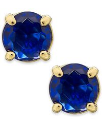 Kate Spade Gold-Tone Royal Blue Crystal Stud Earrings - Lyst