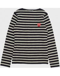 Play Comme des Garçons Striped Pullover Sweater blue - Lyst
