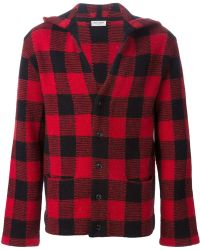 Saint Laurent Red Plaid Cardigan - Lyst
