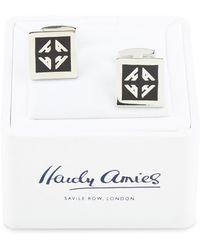 Hardy Amies - Black Single Monogram Cufflinks - Lyst