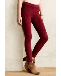 La Fee Verte Red Pseudosuede Leggings - Lyst