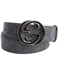 Gucci Grey Logo Embossed Leather Gg Buckle Belt - Lyst
