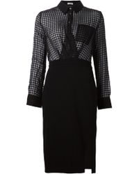 Altuzarra Sheer Grid-Panel Shirt Dress - Lyst