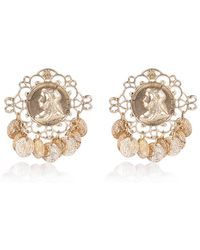 River Island Gold Tone Baroque Coin Dangle Earrings - Lyst