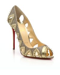 Christian Louboutin | Pinder City Studded Cut-Out Leather Pumps | Lyst