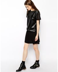 Vanessa Bruno Athé Vanessa Bruno Athe Dress in Cutwork Leather Look - Lyst
