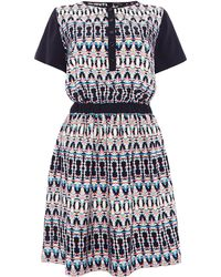 Therapy Colour Block Scarf Print Dress - Lyst