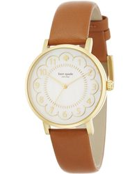 Kate Spade Metro Scalloped Mother-Of-Pearl, Goldtone Stainless Steel & Leather Strap Watch gold - Lyst