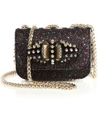 Christian Louboutin | Sweety Charity Studded Shimmer Leather & Textile Crossbody Bag | Lyst