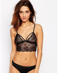 Asos Caged Lace Bralet - Lyst